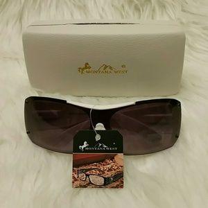 Montana West Rhinestone Sunglasses White